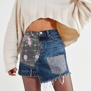 BDG floral patchwork denim skirt